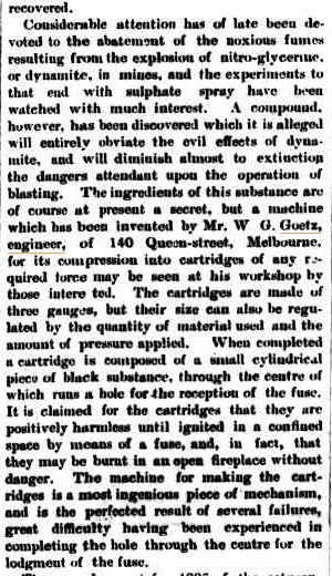 WG Goetz invents machine for production of dynamite cartridges. Illustrated Austraalian News, 5 aug 1885 p115
