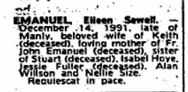 Eileen Sewell Emanuel (nee Willson) - Death Notice