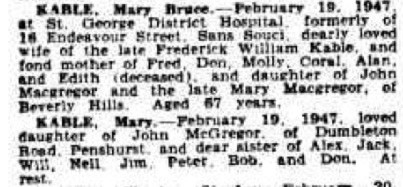 Mary Bruce Kable Death Notice