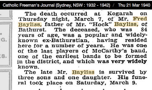 Frederick Australia Bayliss Death